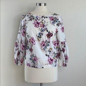 WHBM Dark berry floral print balloon sleeve blouse